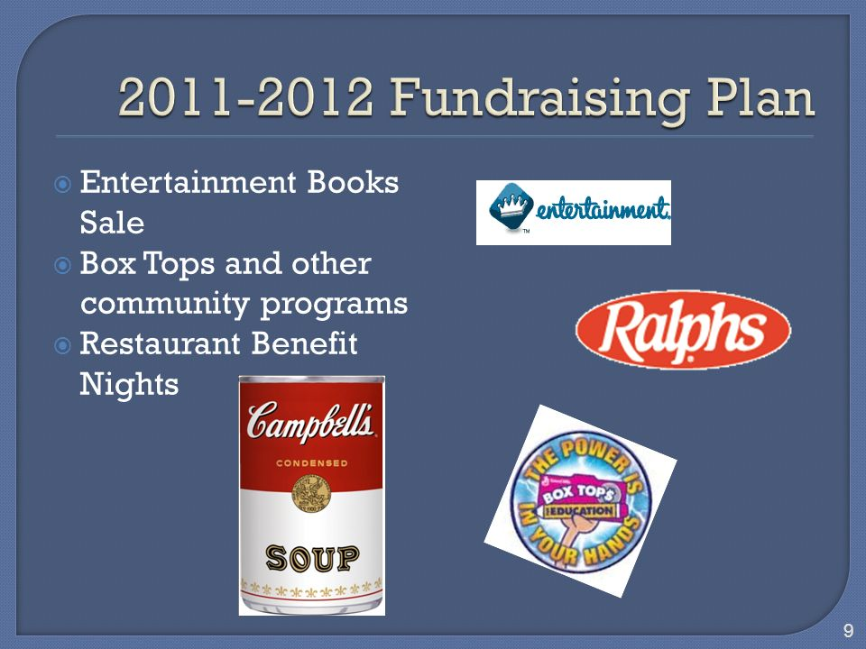 Entertainment Books Sale Box Tops and other community programs Restaurant Benefit Nights 9