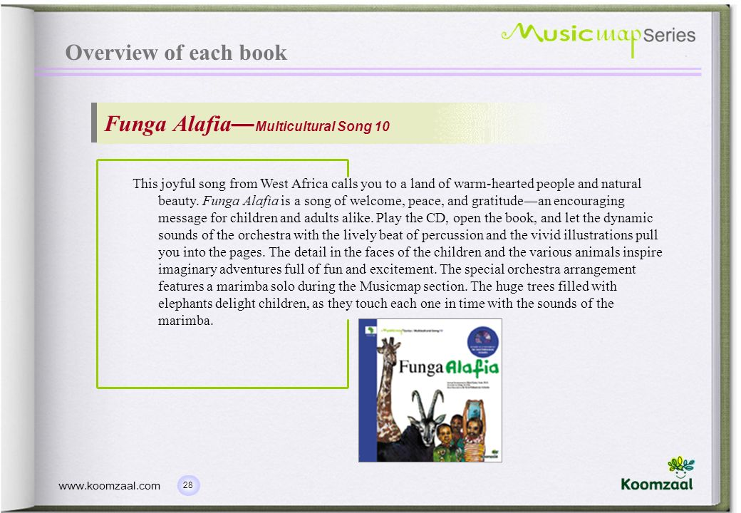28 www.koomzaal.com Overview of each book Funga Alafia Multicultural Song 10 This joyful song from West Africa calls you to a land of warm-hearted peo