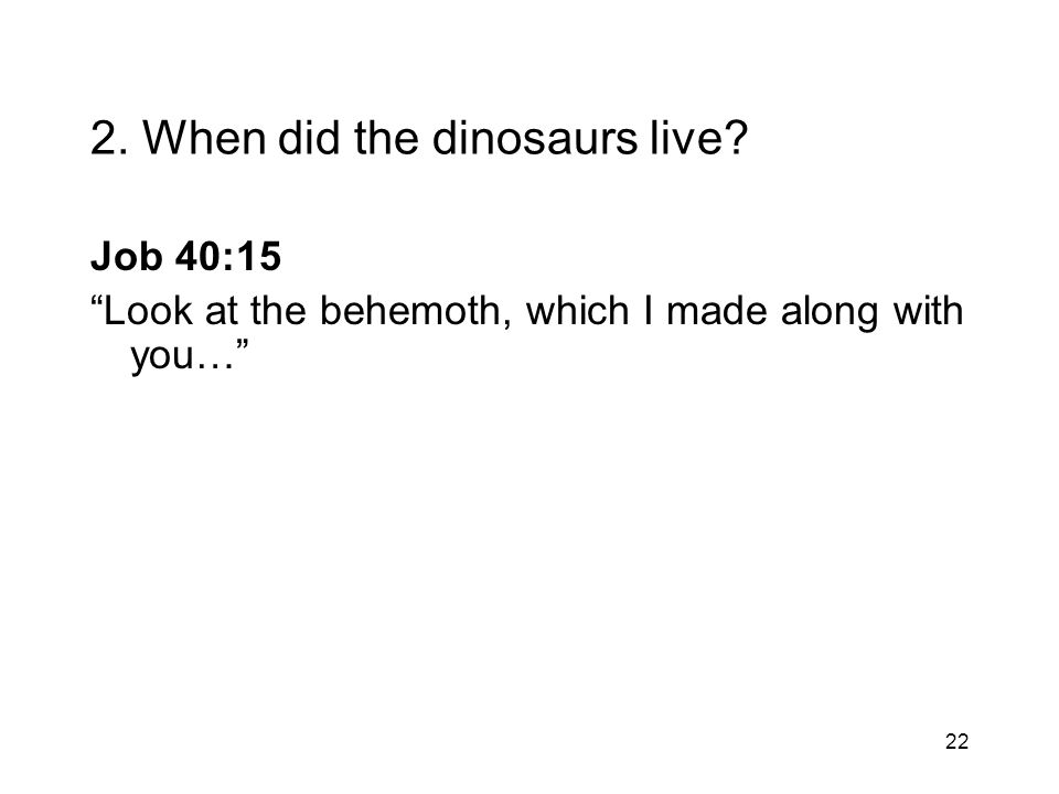 22 2. When did the dinosaurs live? Job 40:15 Look at the behemoth, which I made along with you…