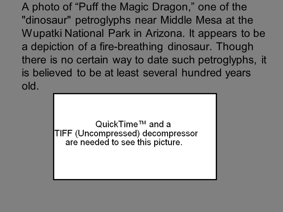 A photo of Puff the Magic Dragon, one of the