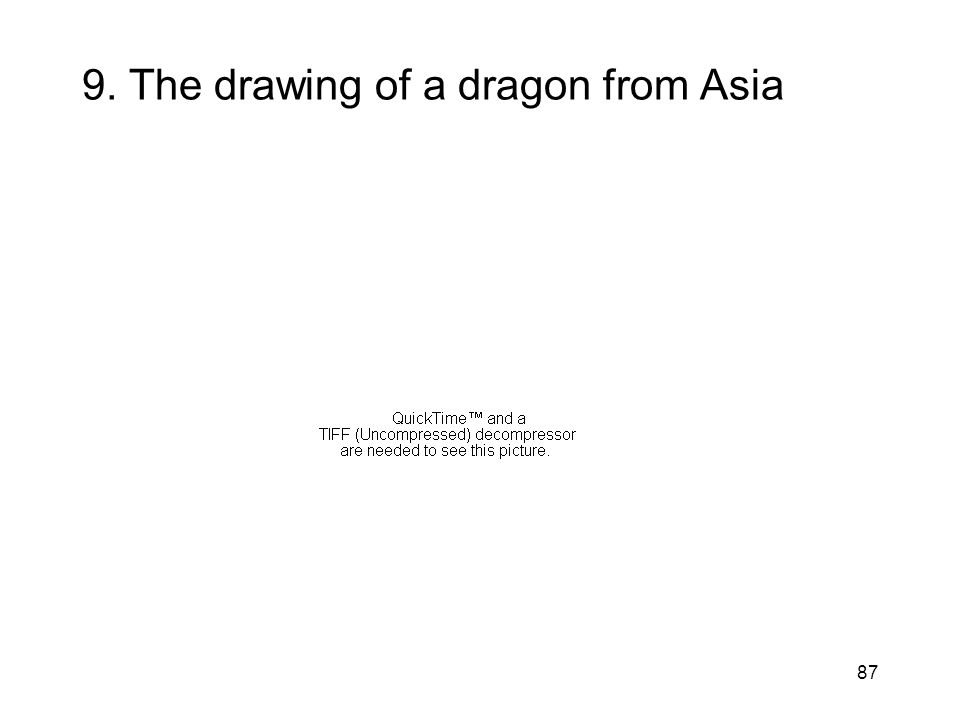 87 9. The drawing of a dragon from Asia