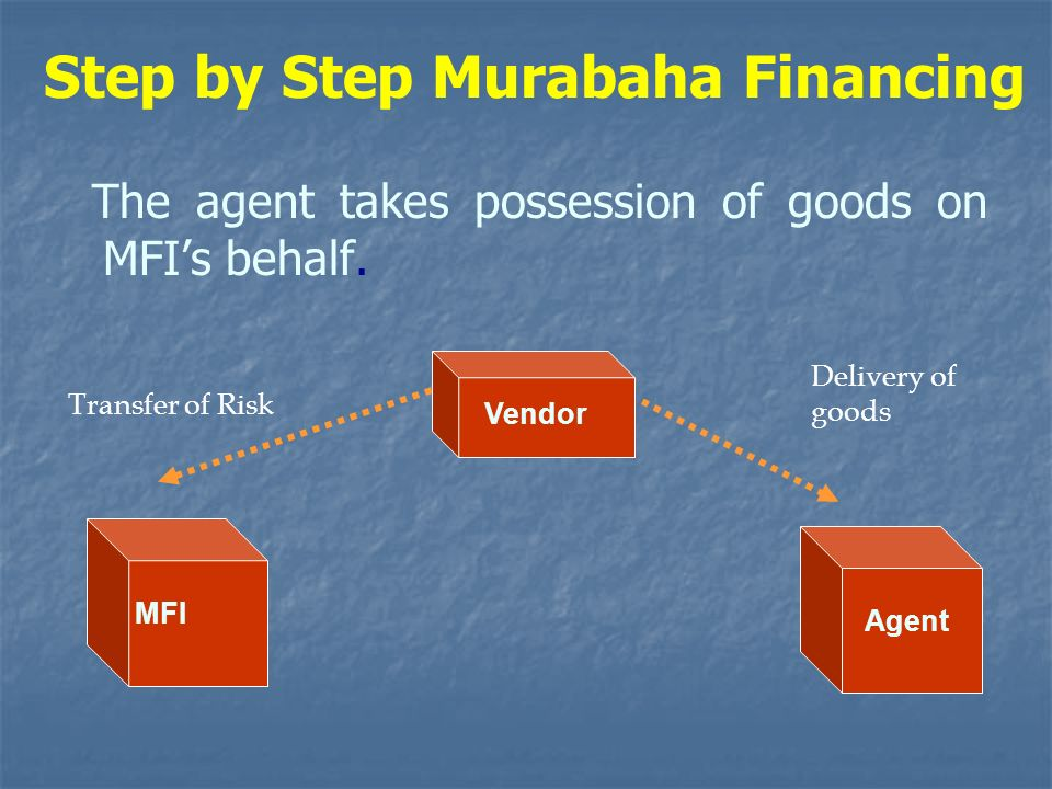 Step by Step Murabaha Financing The agent takes possession of goods on MFIs behalf. Transfer of Risk Delivery of goods Vendor MFI Agent
