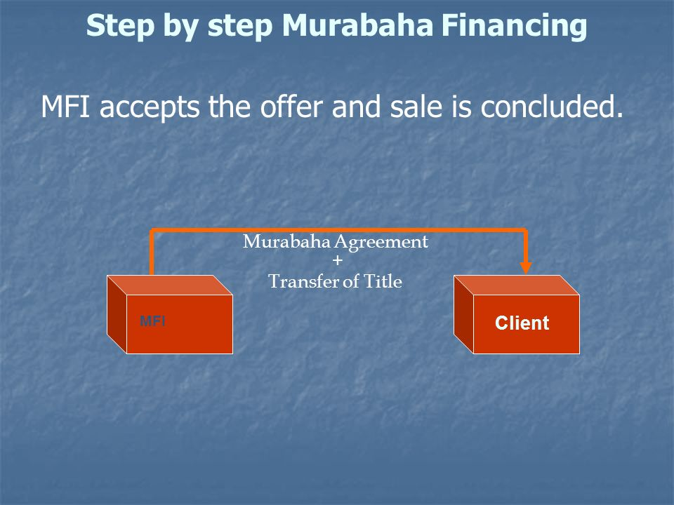 Step by step Murabaha Financing MFI accepts the offer and sale is concluded. Murabaha Agreement + Transfer of Title MFI Client