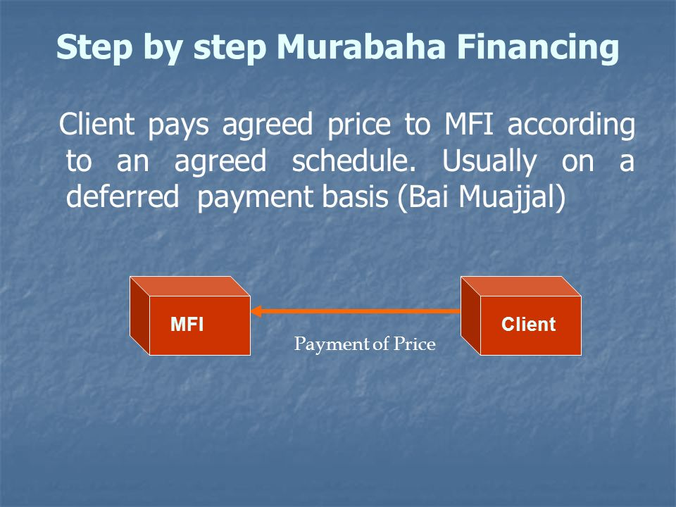 Step by step Murabaha Financing Client pays agreed price to MFI according to an agreed schedule. Usually on a deferred payment basis (Bai Muajjal) Pay