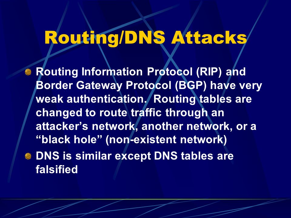 CenterTrack (cont) Full packet capture can be added easily to provide attack evidence Problems – Attacks have to be detected to be rerouted TTL is modified and ICMP TTL exceeded messages are sent back, possibly alerting the attacker to the trace