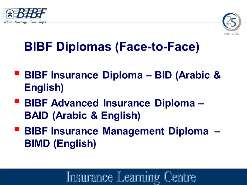 BIBF Insurance Diploma – BID (Arabic & English) BIBF Advanced Insurance Diploma – BAID (Arabic & English) BIBF Insurance Management Diploma – BIMD (English) BIBF Diplomas (Face-to-Face)