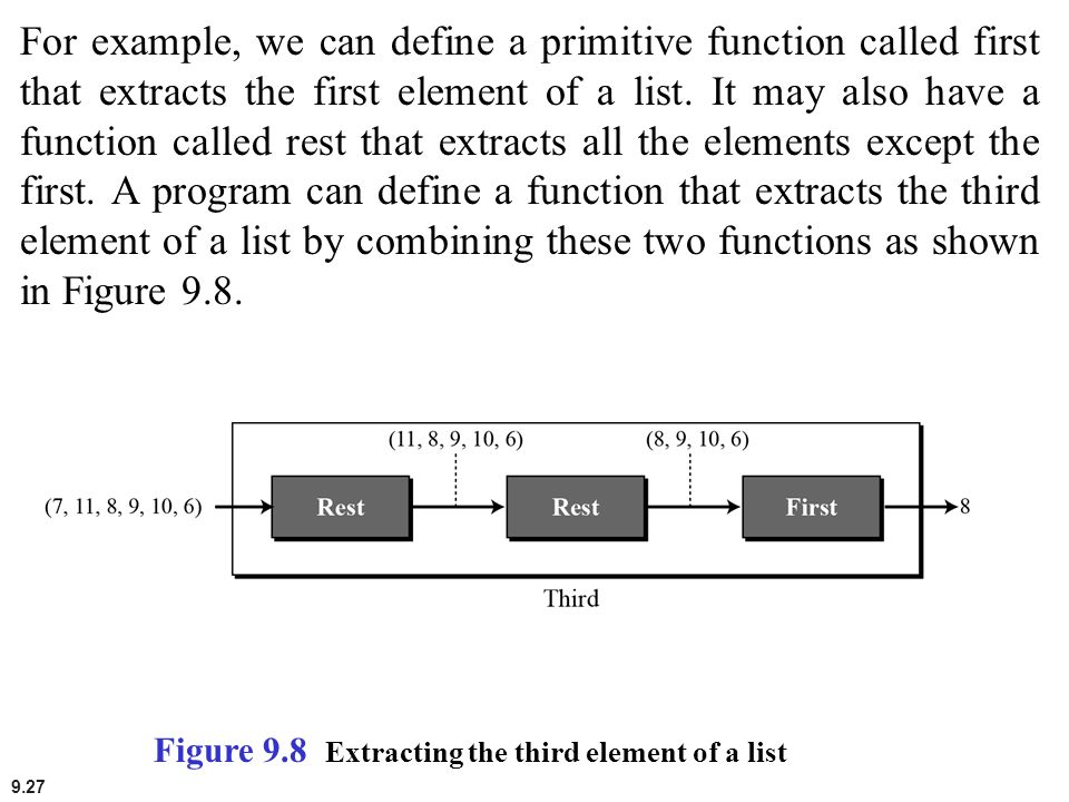 9.27 For example, we can define a primitive function called first that extracts the first element of a list. It may also have a function called rest t
