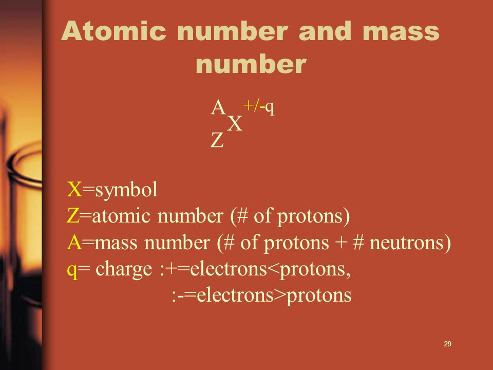 29 A +/-q Z X X=symbol Z=atomic number (# of protons) A=mass number (# of protons + # neutrons) q= charge :+=electrons<protons, :-=electrons>protons A