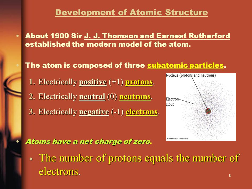 8 Development of Atomic Structure About 1900 Sir J. J. Thomson and Earnest Rutherford established the modern model of the atom. 1.Electrically positiv