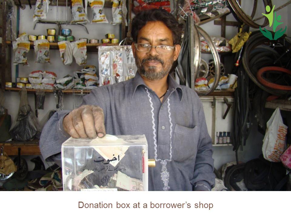 Donation box at a borrowers shop