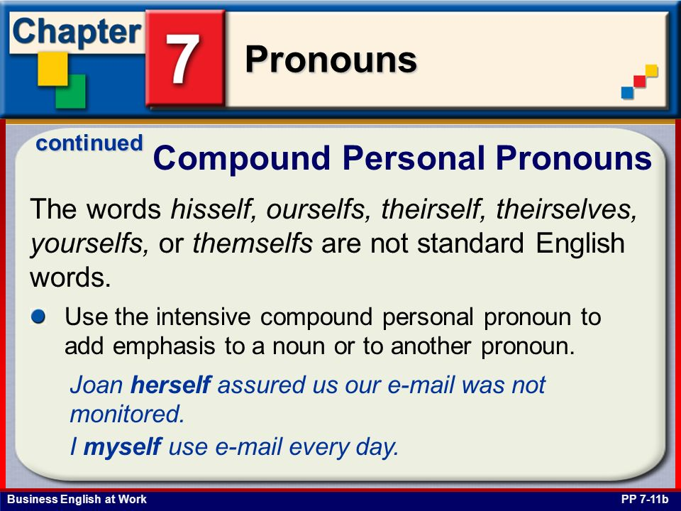 Business English at Work Pronouns Compound Personal Pronouns PP 7-11b The words hisself, ourselfs, theirself, theirselves, yourselfs, or themselfs are