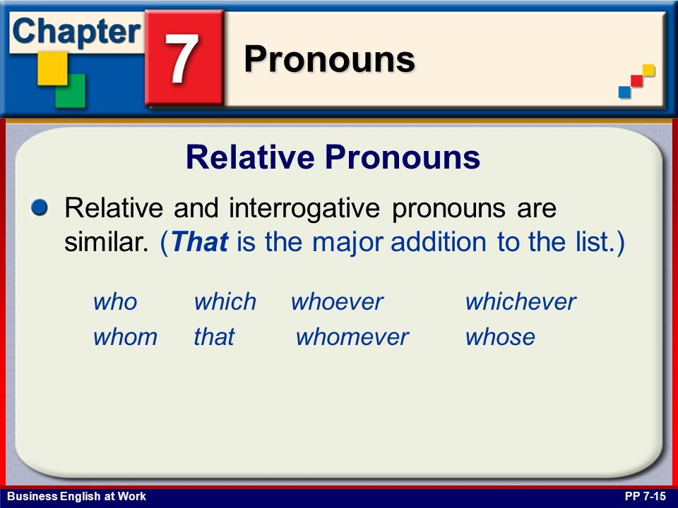 Business English at Work Pronouns Relative Pronouns PP 7-15 Relative and interrogative pronouns are similar. (That is the major addition to the list.)
