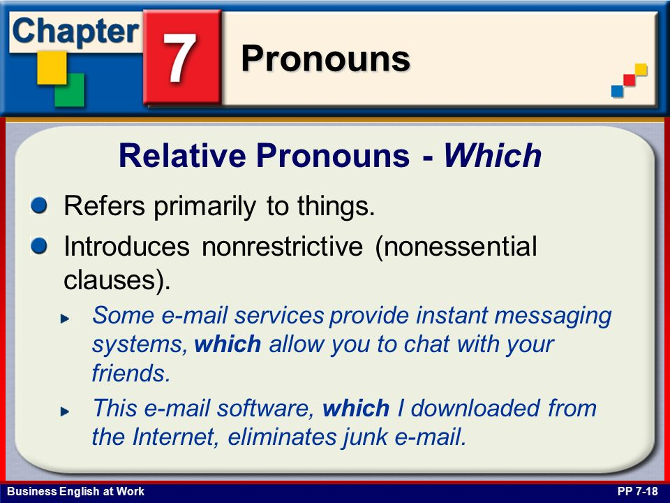 Business English at Work Pronouns Relative Pronouns - Which PP 7-18 Refers primarily to things. Introduces nonrestrictive (nonessential clauses). Some