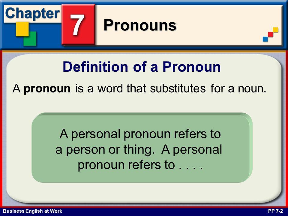 Business English at Work Pronouns Possessive pronouns indicate ownership.