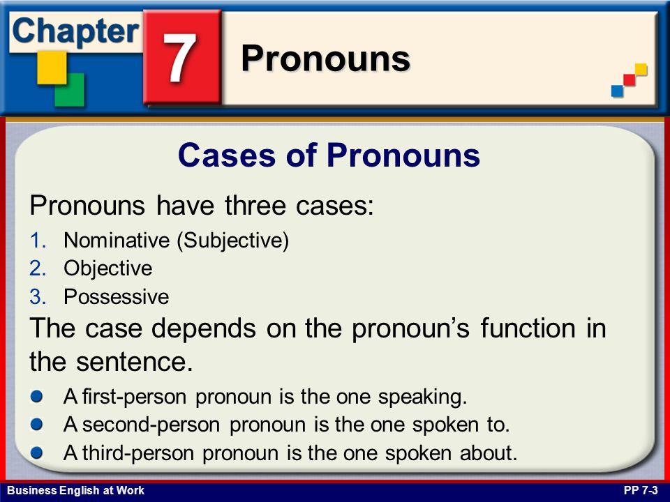 Business English at Work Pronouns Nominative Case Personal Pronouns PP 7-4 The following pronouns are nominative case pronouns.