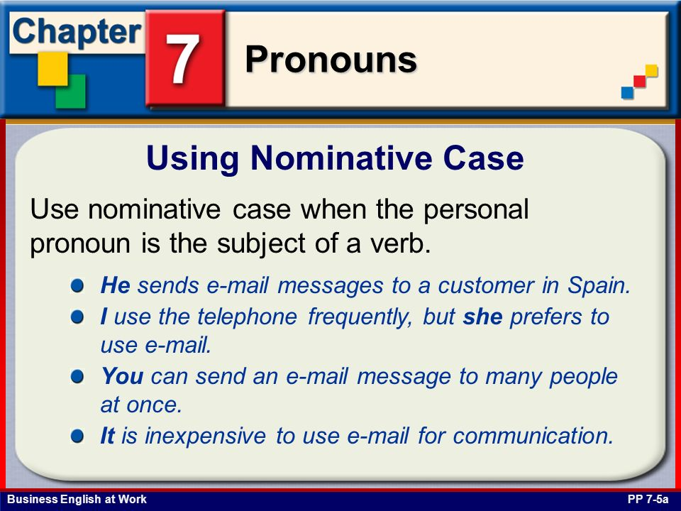 Business English at Work Pronouns Use the nominative case when the personal pronoun is a subject complement and follows a linking verb.
