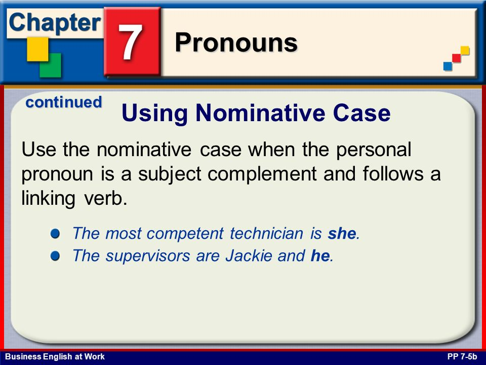 Business English at Work Pronouns Use of Whose and Whos PP 7-21a Use the relative pronoun whose to show ownership.