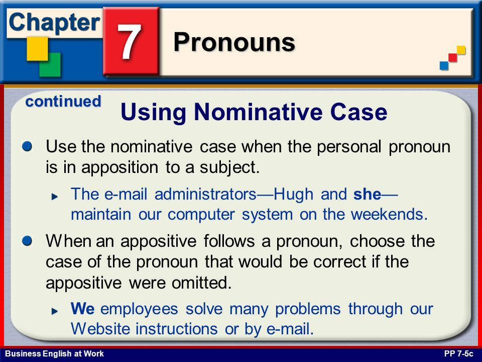 Business English at Work Pronouns The following pronouns are objective case pronouns.