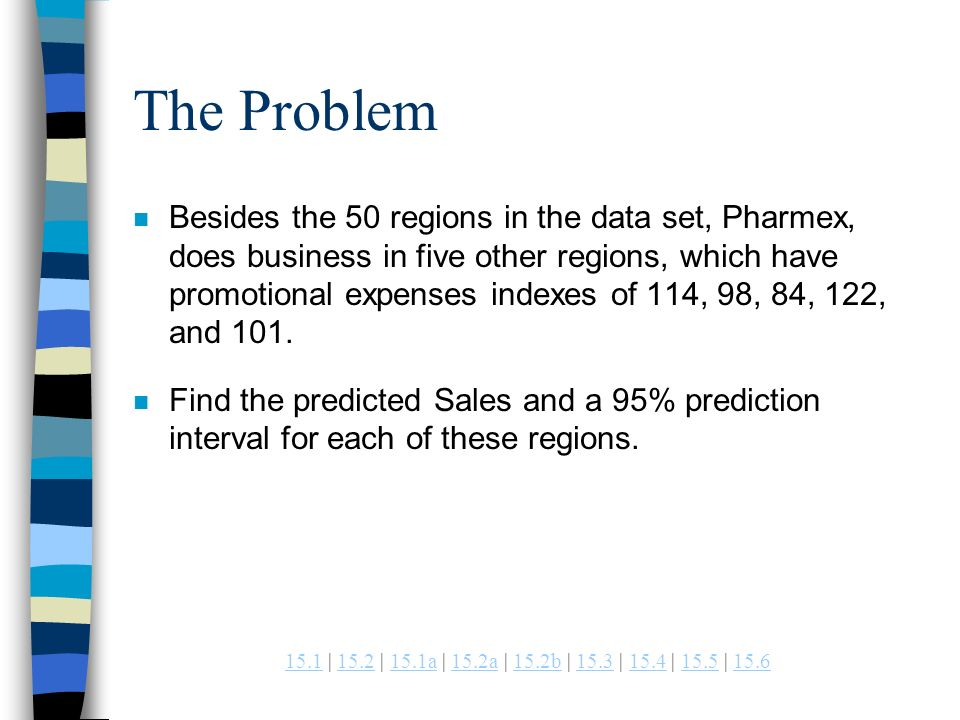 | 15.2 | 15.1a | 15.2a | 15.2b | 15.3 | 15.4 | 15.5 | a15.2a15.2b The Problem n Besides the 50 regions in the data set, Pharmex, does business in five other regions, which have promotional expenses indexes of 114, 98, 84, 122, and 101.
