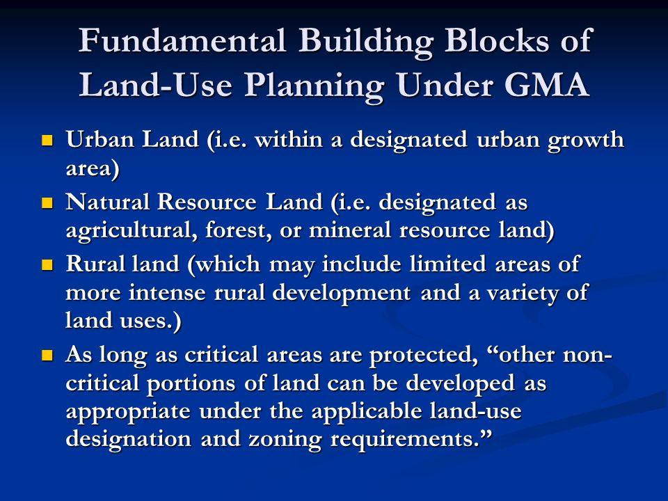 Fundamental Building Blocks of Land-Use Planning Under GMA Urban Land (i.e.