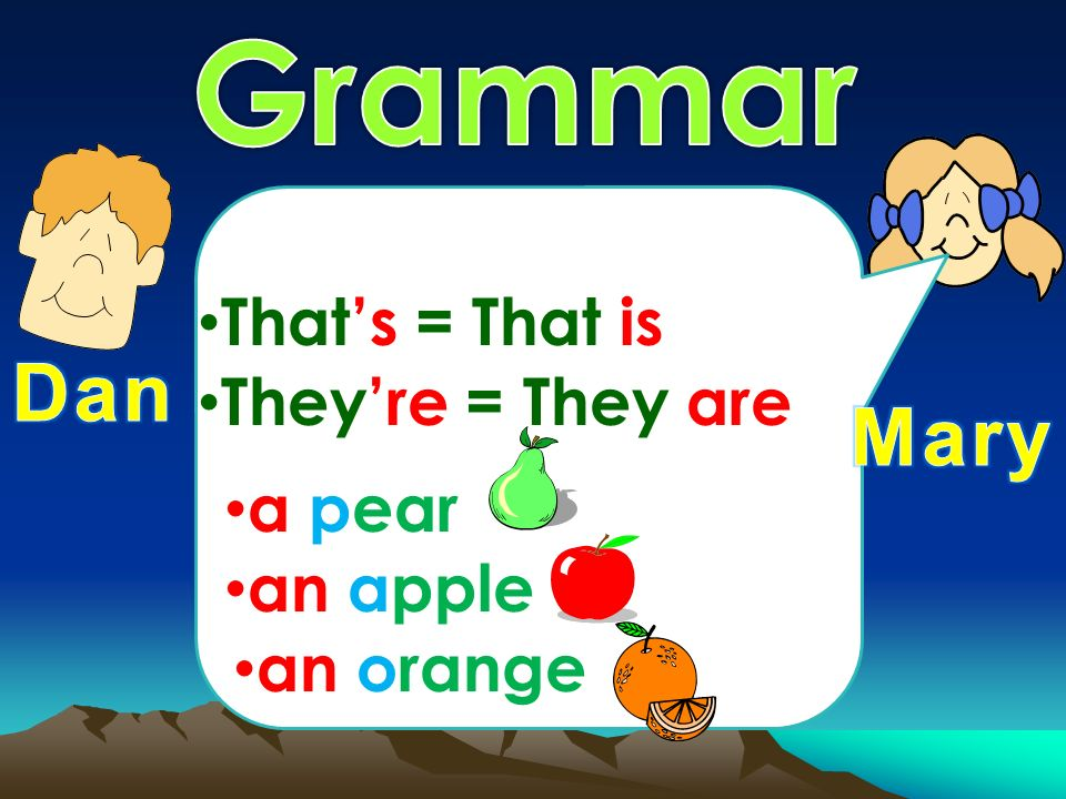 Theyre = They are Thats = That is a pear an apple an orange
