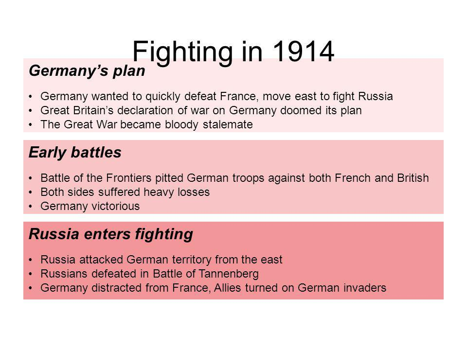 Germanys plan Germany wanted to quickly defeat France, move east to fight Russia Great Britains declaration of war on Germany doomed its plan The Grea