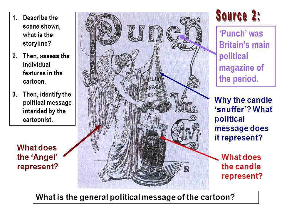 Punch was Britains main political magazine of the period. What does the Angel represent? 1.Describe the scene shown, what is the storyline? 2.Then, as
