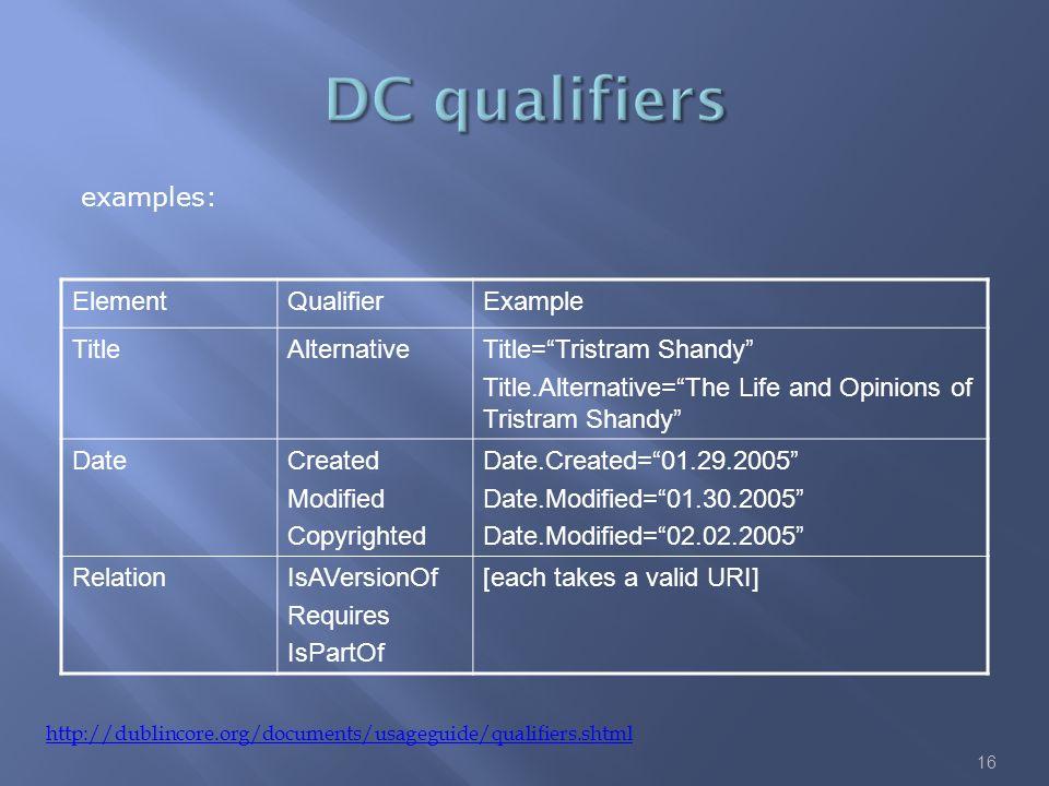 16 http://dublincore.org/documents/usageguide/qualifiers.shtml examples: ElementQualifierExample TitleAlternativeTitle=Tristram Shandy Title.Alternati