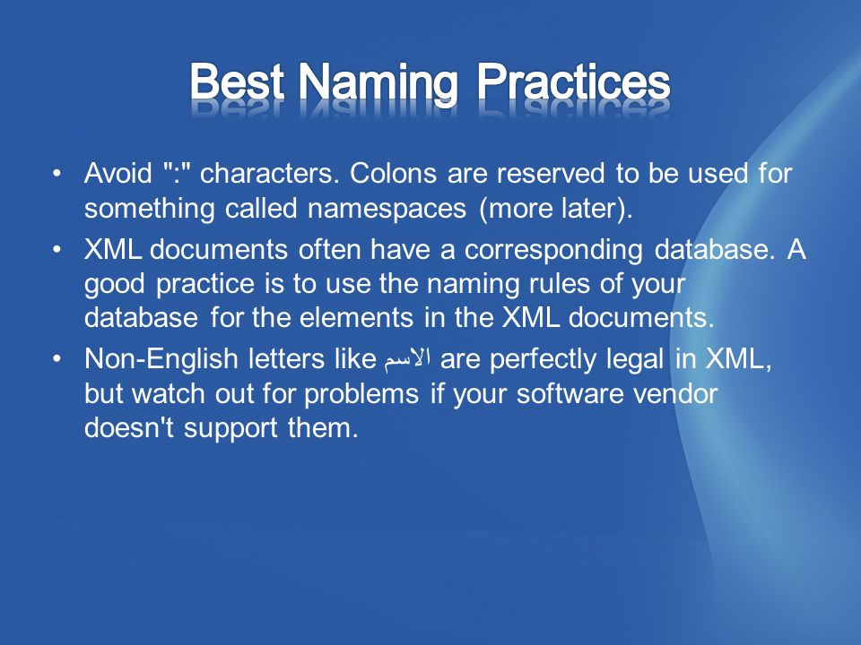 Avoid : characters. Colons are reserved to be used for something called namespaces (more later).