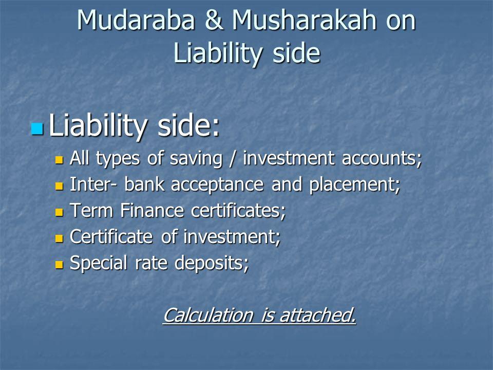 Mudaraba & Musharakah on Liability side Liability side: Liability side: All types of saving / investment accounts; All types of saving / investment ac