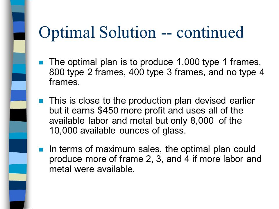 Optimal Solution -- continued n The optimal plan is to produce 1,000 type 1 frames, 800 type 2 frames, 400 type 3 frames, and no type 4 frames. n This