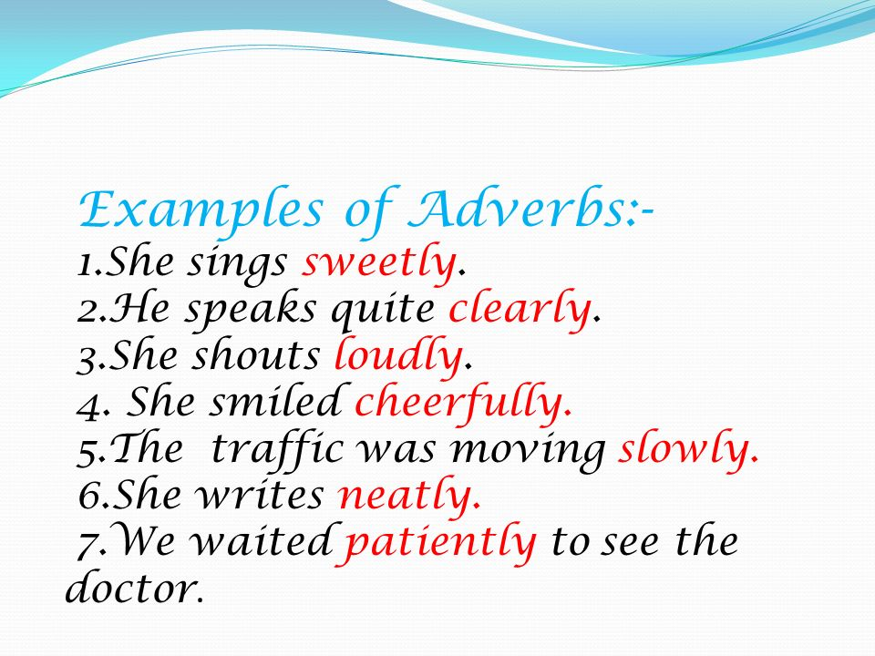 Examples Of Adverbs Alisen Berde