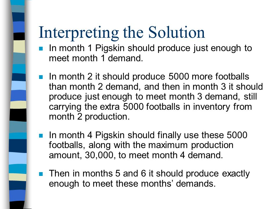 Interpreting the Solution n In month 1 Pigskin should produce just enough to meet month 1 demand. n In month 2 it should produce 5000 more footballs t