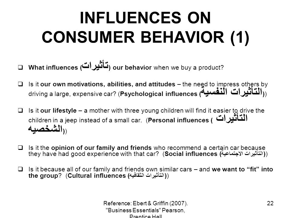 22 INFLUENCES ON CONSUMER BEHAVIOR (1) What influences ( تأثيرات ) our behavior when we buy a product? Is it our own motivations, abilities, and attit