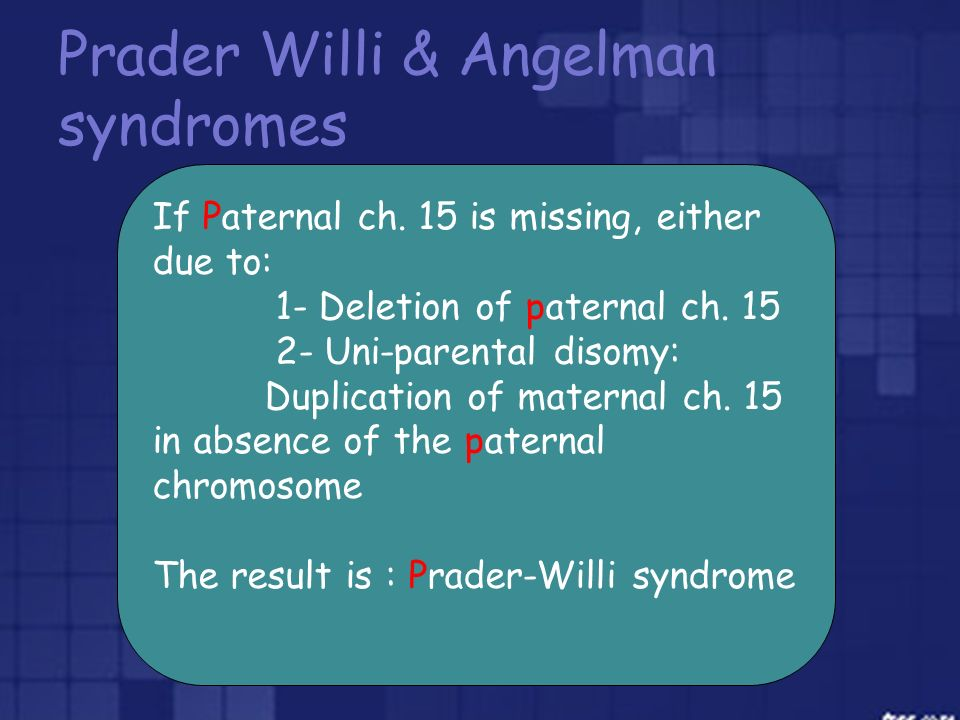 Prader Willi & Angelman syndromes If Paternal ch. 15 is missing, either due to: 1- Deletion of paternal ch. 15 2- Uni-parental disomy: Duplication of