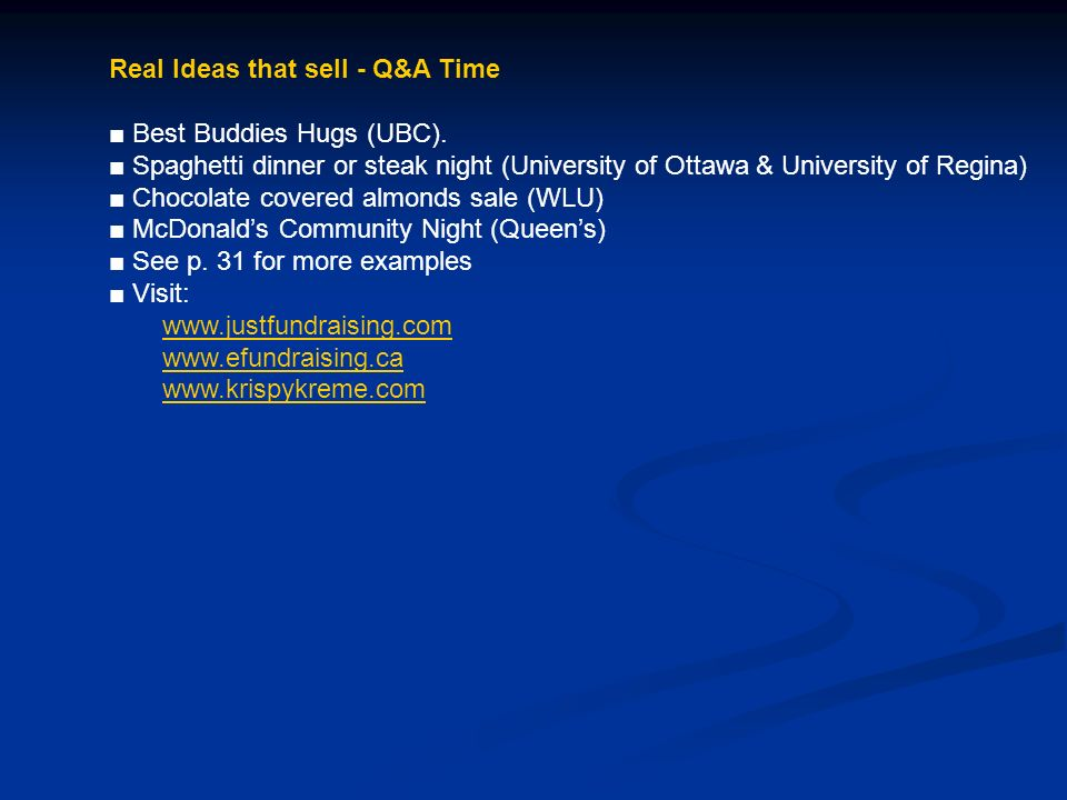 Real Ideas that sell - Q&A Time Best Buddies Hugs (UBC).