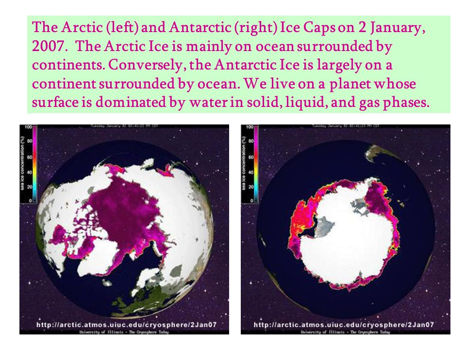 The Arctic (left) and Antarctic (right) Ice Caps on 2 January, 2007. The Arctic Ice is mainly on ocean surrounded by continents. Conversely, the Antar