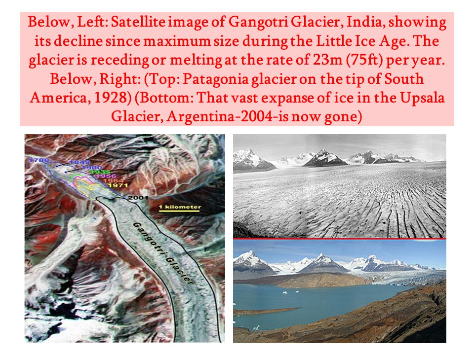 Below, Left: Satellite image of Gangotri Glacier, India, showing its decline since maximum size during the Little Ice Age. The glacier is receding or