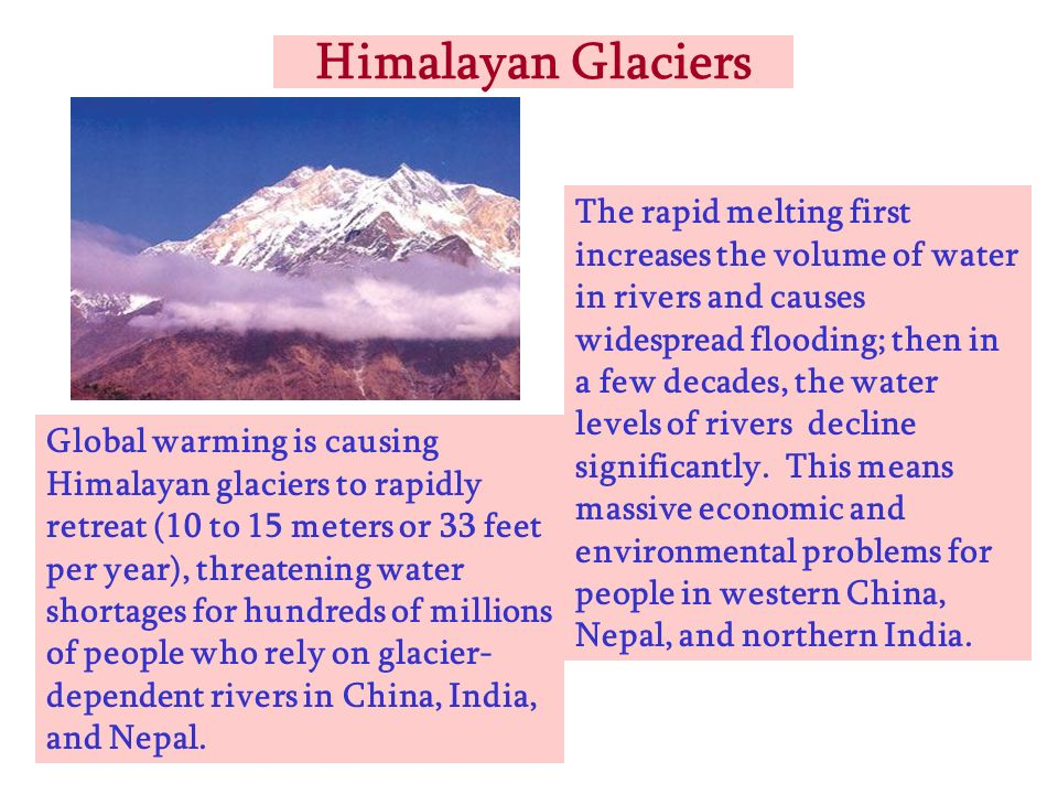 Himalayan Glaciers Global warming is causing Himalayan glaciers to rapidly retreat (10 to 15 meters or 33 feet per year), threatening water shortages