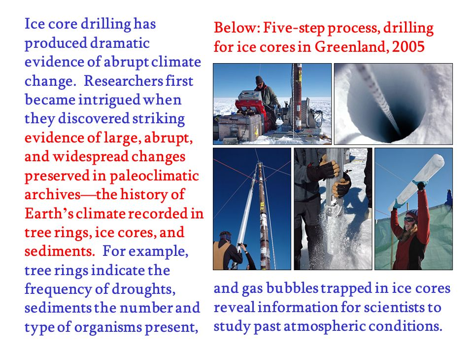Ice core drilling has produced dramatic evidence of abrupt climate change. Researchers first became intrigued when they discovered striking evidence o