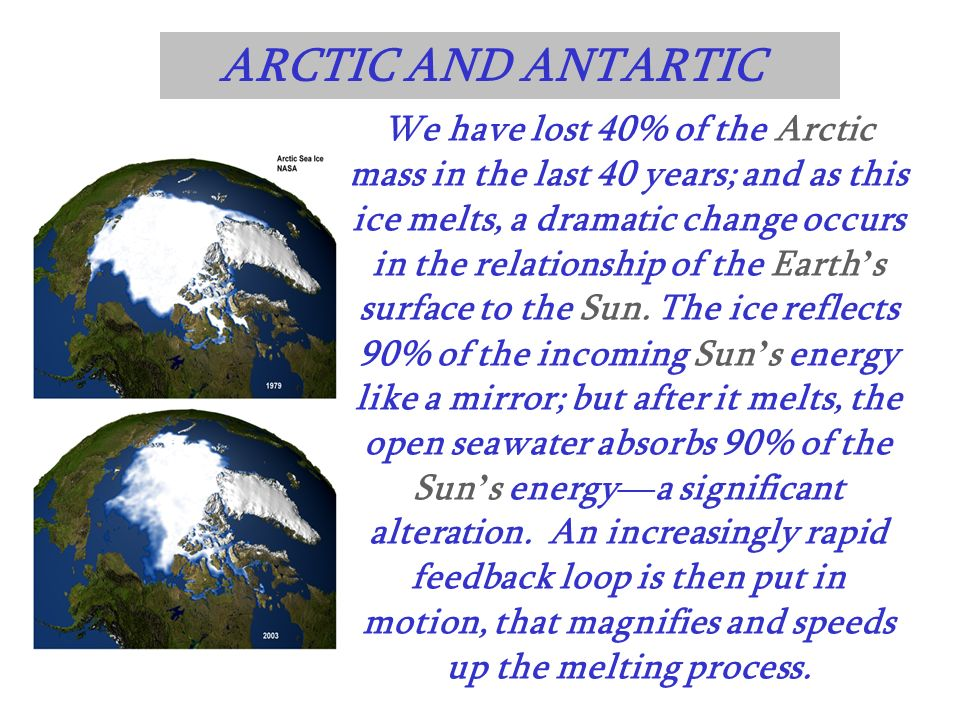 We have lost 40% of the Arctic mass in the last 40 years; and as this ice melts, a dramatic change occurs in the relationship of the Earth s surface t