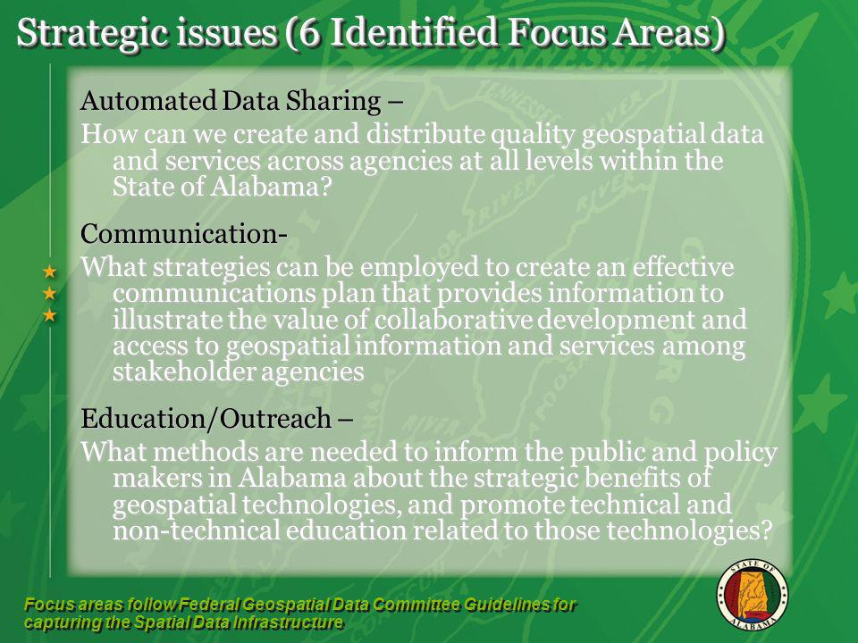 Strategic issues (6 Identified Focus Areas) Automated Data Sharing – How can we create and distribute quality geospatial data and services across agencies at all levels within the State of Alabama.