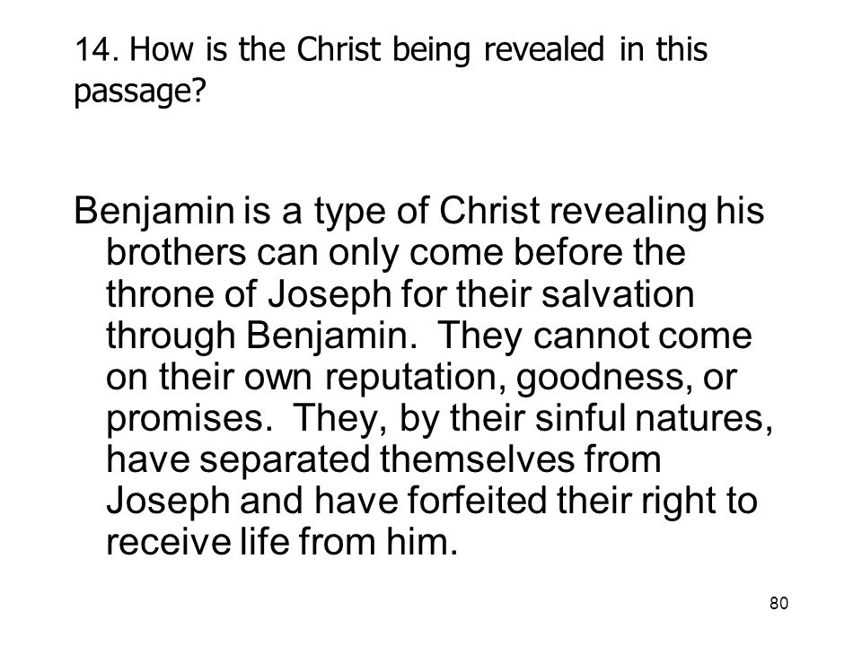 80 14. How is the Christ being revealed in this passage.