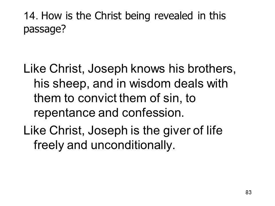 83 14. How is the Christ being revealed in this passage.