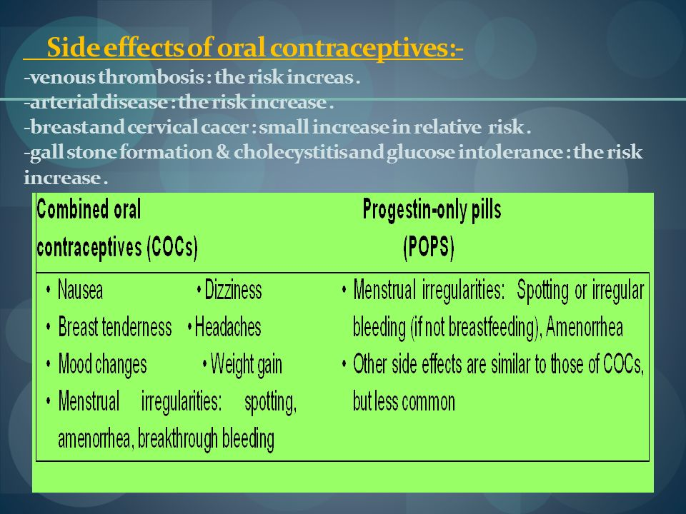 Side effects of oral contraceptives:- -venous thrombosis : the risk increas. -arterial disease : the risk increase. -breast and cervical cacer : small