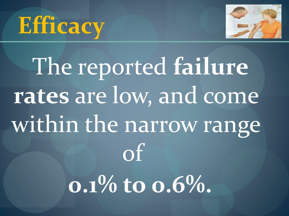 Efficacy The reported failure rates are low, and come within the narrow range of 0.1% to 0.6%.