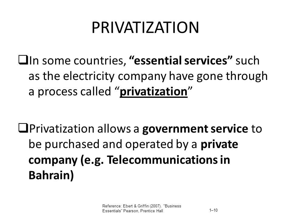 PRIVATIZATION In some countries, essential services such as the electricity company have gone through a process called privatization Privatization all