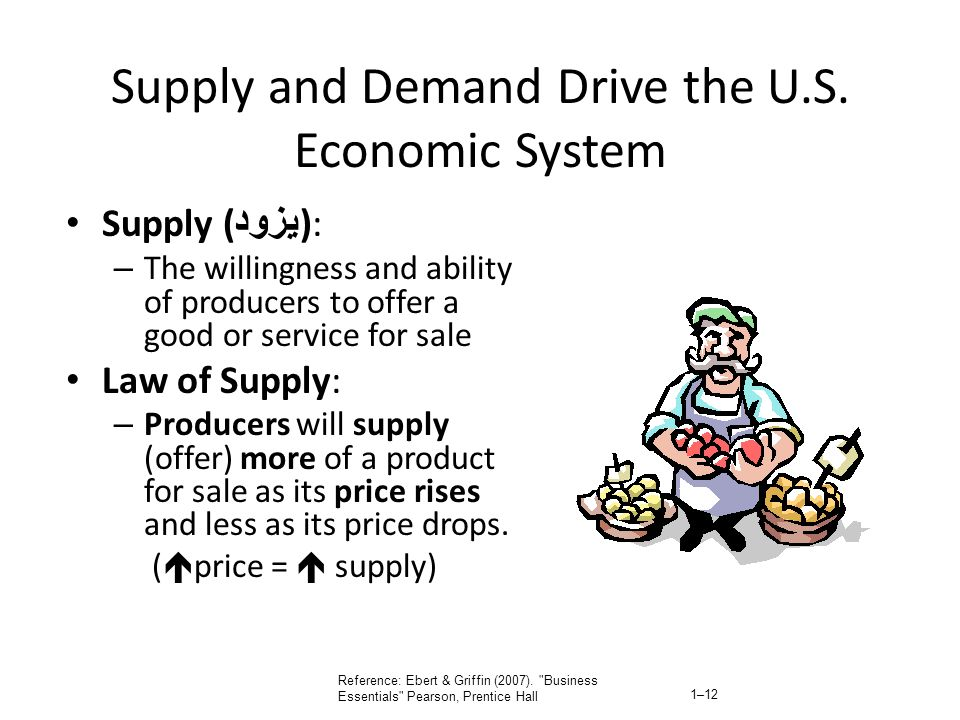 Supply and Demand Drive the U.S. Economic System Supply ( يزود ): – The willingness and ability of producers to offer a good or service for sale Law o