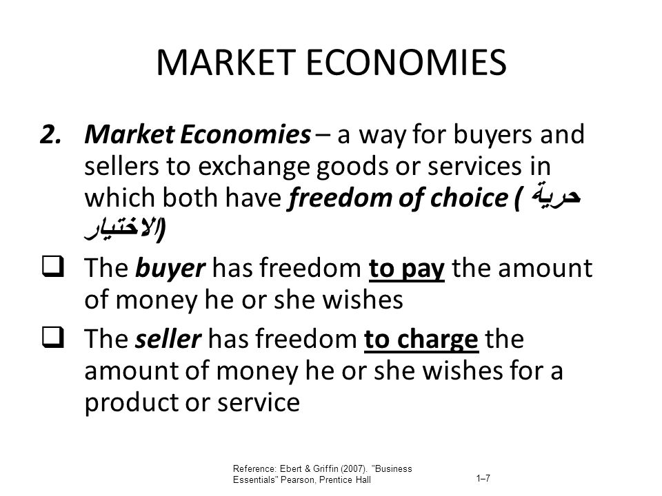 MARKET ECONOMIES 2.Market Economies – a way for buyers and sellers to exchange goods or services in which both have freedom of choice ( حرية الاختيار