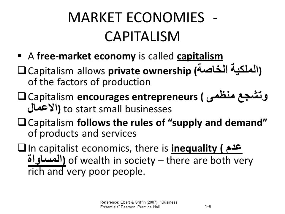 MARKET ECONOMIES - CAPITALISM A free-market economy is called capitalism Capitalism allows private ownership ( الملكية الخاصة ) of the factors of prod